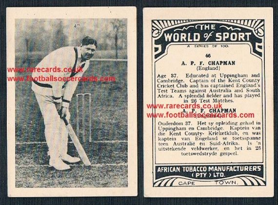 1930's South African Tobacco Cape Town World of Sport cricket card 46 Percy Chapman Kent CCC